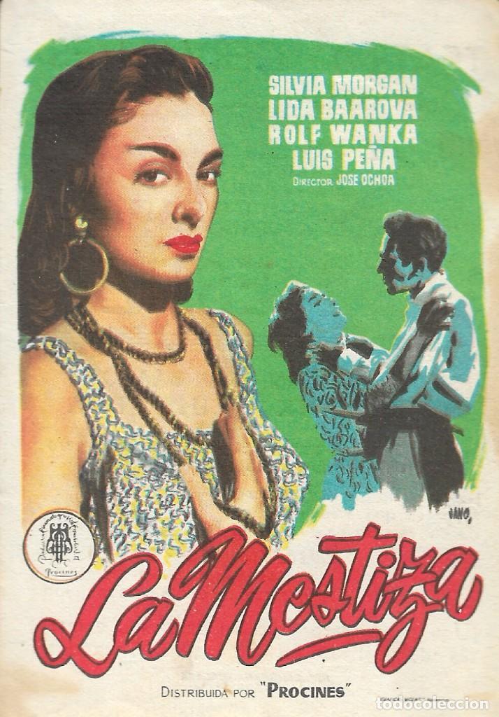 PROGRAMA DE CINE - LA MESTIZA - SILVIA MORGAN, LIDA BAAROVA - TEATRO CERVANTES (MÁLAGA) - 1956. (Cine - Folletos de Mano - Documentales)