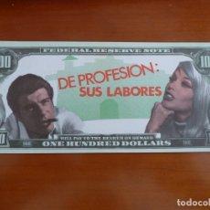 Cine: DE PROFESION SUS LABORES FOLLETO DE MANO ORIGINAL TROQUELADO BILLETE BANCO PERFECTO ESTADO. Lote 171329932