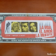 Cine: LA VIDA EL AMOR LA MUERTE FOLLETO DE MANO ORIGINAL TROQUELADO BILLETE BANCO NO ESTRENADA RARO. Lote 171330374