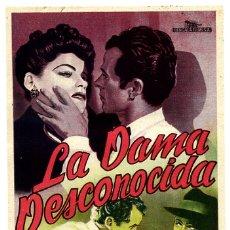 Flyers Publicitaires de films Anciens: LA DAMA DESCONOCIDA , SIN CINE , SENCILLO , ORIGINAL , PMD 596. Lote 182960902