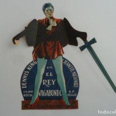 Cine: EL REY VAGABUNDO FOLLETO DE MANO TROQUELADO ORIGINAL CON CINE IMPRESO. Lote 171415749