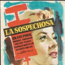 Cine: PROGRAMA DE CINE - LA SOSPECHOSA - SILVIA PINAL - CINE CAPITOL, DUQUE Y PLUS ULTRA (MÁLAGA) - 1955.. Lote 171450794