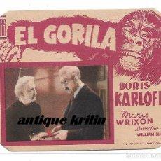 Cine: EL GORILA .- BORIS KARLOFF .- IDEAL CINEMA DE BENICARLÓ . Lote 171506162