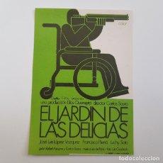 Cine: PROGRAMA DE MANO ORIGINAL EL JARDÍN DE LAS DELICIAS, JOSÉ LUIS LÓPEZ VÁZQUEZ, SIN PUBLICIDAD. Lote 171520244