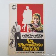 Cine: PROGRAMA DE MANO ORIGINAL UN MARAVILLOSO VENENO, ANTHONY PERKINS, SIN PUBLICIDAD. Lote 171520753