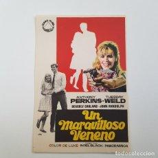 Cine: PROGRAMA DE MANO ORIGINAL UN MARAVILLOSO VENENO, ANTHONY PERKINS, SIN PUBLICIDAD. Lote 171520977