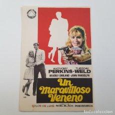 Cine: PROGRAMA DE MANO ORIGINAL UN MARAVILLOSO VENENO, ANTHONY PERKINS, SIN PUBLICIDAD. Lote 171521018