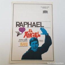 Cine: PROGRAMA DE MANO ORIGINAL EL ANGEL, RAPHAEL, SIN PUBLICIDAD. Lote 171521225