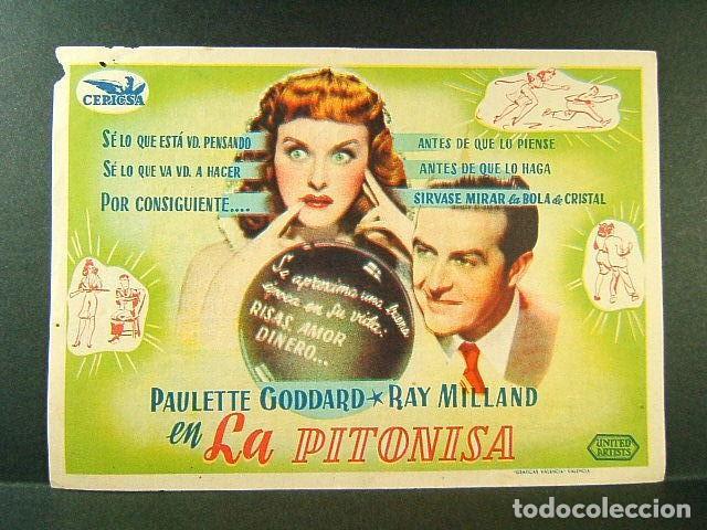 LA PITONISA-PAULETTE GODDARD-RAY MILLAND-CINE ORIENTE-1944. (Cine - Folletos de Mano - Comedia)