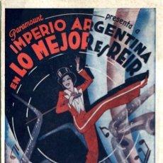 Cine: LO MEJOR ES REIR. AÑO 1931. PROGRAMA DOBLE. ORIGINAL DE ÉPOCA. DIFICIL. IMPERIO ARGENTINA. Lote 171636342