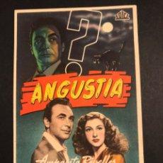 Flyers Publicitaires de films Anciens: PROGRAMA ANGUSTIA AMPARO RIVELLES.NIEVES CONDE. Lote 171710005
