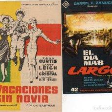 Flyers Publicitaires de films Anciens: 2 FOLLETOS DE MANO CON PUBLICIDAD, VACACIONES SIN NOVIA Y EL DIA MAS LARGO. Lote 171828188