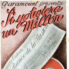 Cine: SI YO TUVIERA UN MILLÓN. GARY COOPER. AÑO 1932. PROGRAMA DOBLE. CINE KURSAAL DE ELCHE . Lote 171830882