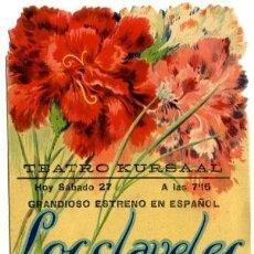 Foglietti di film di film antichi di cinema: LOS CLAVELES. AÑO 1936. PROGRAMA DOBLE TROQUELADO. ORIGINAL DE ÉPOCA. TEATRO KURSAAL DE ELCHE . Lote 171972213