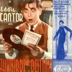 Cine: HOMBRE O RATÓN. AÑO 1936. PROGRAMA DOBLE. ORIGINAL DE ÉPOCA. TEATRO KURSAAL DE ELCHE. Lote 172022907