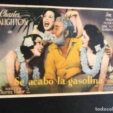 Cine: PROGRAMA SE ACABO LA GASOLINA.CHARLES LAUGHTON.CON PUBLICIDAD. Lote 172223802