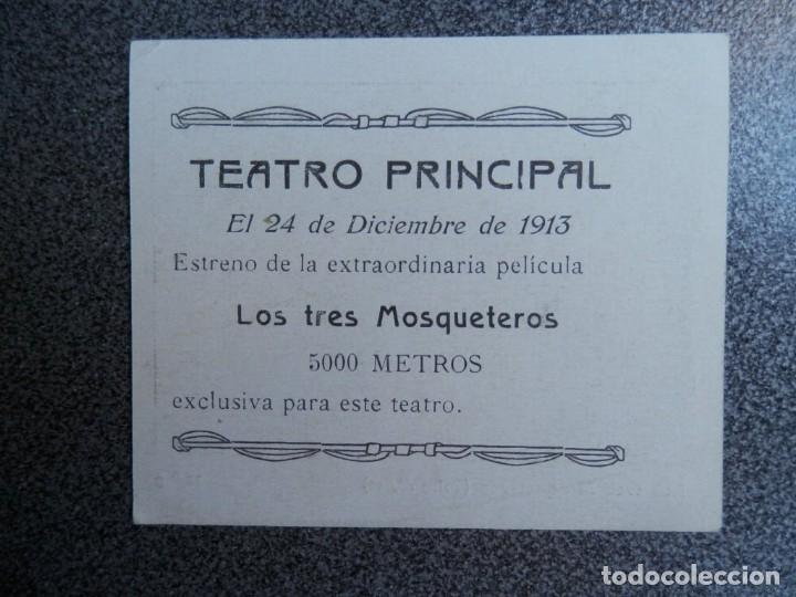 Cine: RARÍSIMO PROGRAMA CINE LOS TRES MOSQUETEROS AÑO 1913 ESTRENO TEATRO PRINCIPAL ZARAGOZA - Foto 2 - 172253204