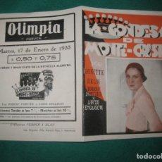 Cine: PROGRAMA DE CINE. LA CONDESA DE MONTE - CRISTO. BRIGITTE HELM. OLIMPIA HUESCA 1933.. Lote 172465207