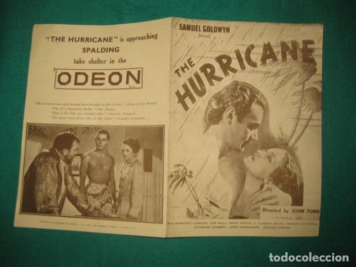 PROGRAMA DE CINE. THE HURRICANE. JOHN FORD. DOROTHY LAMOUR - JOHN HALL - MARY ASTOR. ..ODEON LONDON. (Cine - Folletos de Mano - Aventura)