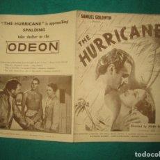 Cine: PROGRAMA DE CINE. THE HURRICANE. JOHN FORD. DOROTHY LAMOUR - JOHN HALL - MARY ASTOR. ..ODEON LONDON.. Lote 172470948