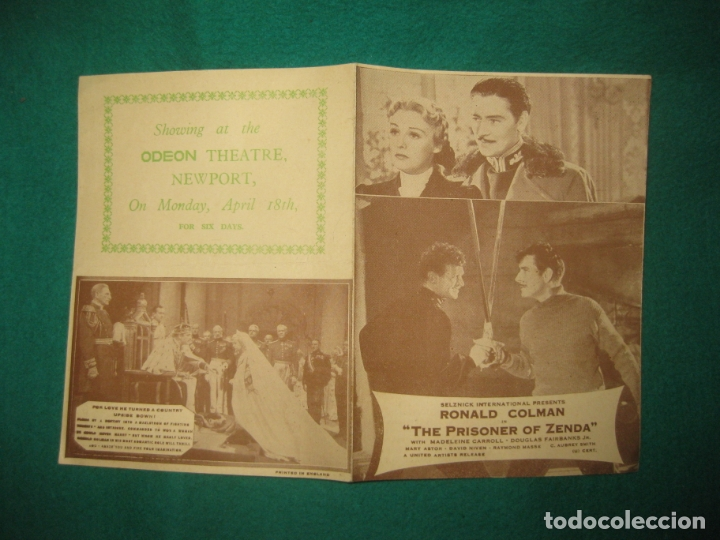 PROGRAMA DE CINE. THE PRISONER OF ZENDA. RONALD COLMAN. MADELEINE CARROL. ODEON THEATRE NEWPORT. (Cine - Folletos de Mano - Aventura)