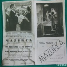 Cine: PROGRAMA DE CINE. MAZURCA. POLA NEGRI. DIR. WILLI FORST. TEATRO GUIMERA . PICAROL CINEMA.. Lote 172477117