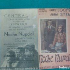 Cine: PROGRAMA DE CINE. NOCHE NUPCIAL. GARY COOPER. ANNA STEN. KING VIDOR. CENTRAL 1936.. Lote 172479217