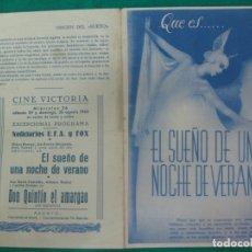 Cine: PROGRAMA DE CINE. EL SUEÑO DE UNA NOCHE DE VERANO. MIKEY ROONEY. CINE VICTORIA 1942.. Lote 172483249