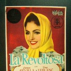 Cine: LA REVOLTOSA-JOSE DIAZ MORALES-CARMEN SEVILLA-TONY LEBLANC-TOMAS BLANCO-CINE MUNDIAL-1951. . Lote 172697978
