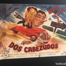 Cine: PROGRAMA DOS CABEZUDOS.BUD ABBOTT Y LOU COSTELLO.CON PUBLICIDAD. Lote 172764405