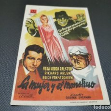 Cine: PROGRAMA DE MANO ORIG - LA MUJER Y EL MONSTRUO - CON CINE EN LA TRASERA . Lote 172911459