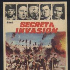 Flyers Publicitaires de films Anciens: P-8208- SECRETA INVASIÓN (THE SECRET INVASION) STEWART GRANGER - RAF VALLONE - MICKEY ROONEY. Lote 172943888