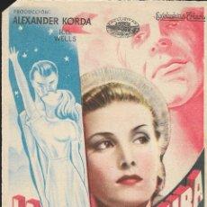 Cine: PROGRAMA DE CINE - LA VIDA FUTURA - RAYMOND MASSEY, PEARL ARGILE - CINE TORCAL (ANTEQUERA) - 1949.. Lote 172956989