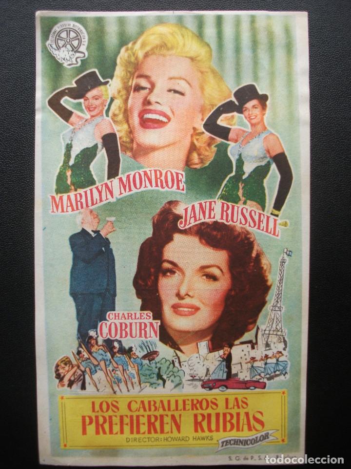 LOS CABALLEROS LAS PREFIEREN RUBIAS, MARYLIN MONROE, CINE ESLAVA, 1955 (Cine - Folletos de Mano - Musicales)