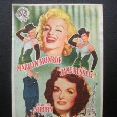 Flyers Publicitaires de films Anciens: LOS CABALLEROS LAS PREFIEREN RUBIAS, MARYLIN MONROE, CINE ESLAVA, 1955. Lote 173022695