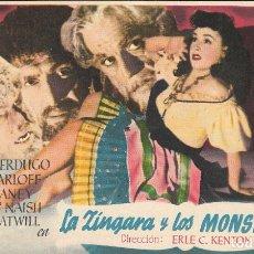 Cine: PROGRAMA DE CINE - LA ZÍNGARA Y LOS MONSTRUOS - BORIS KARLOFF, LON CHANEY - CINE ECHEGARAY (MÁLAGA) . Lote 173075577