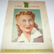Cine: LINA YEGROS, RAMON PEÑA, EMPRESA MIGUEL CUETO, PROGRAMA DE REVISTA DOBLE PERFECTO. Lote 173076719