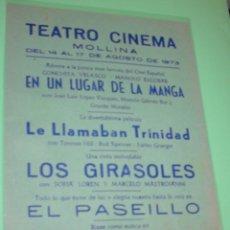 Cine: TEATRO CINEMA- MOLLINA- PELICULAS PARA LAS FIESTAS DE AGOSTO 1973- PERFECTO. Lote 173077438