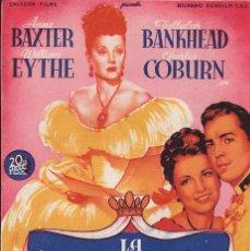 Flyers Publicitaires de films Anciens: PROGRAMA DE CINE - LA ZARINA - TALLULAH BANKHEAD, ANNE BAXTER - 20TH CENTURY FOX - CINE GOYA MÁLAGA. Lote 173083550