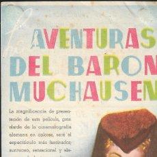 Cine: PROGRAMA DOBLE - LAS AVENTURAS DEL BARON MUCHAUSEN - HANS ALBERS, BRIGITE HORNEY - UFA - CINE GOYA.. Lote 173084535
