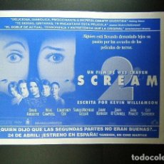 Cine: SCREAM-WES CRAVEN-ATRAPADA ENTRE DOS HOMBRES-SEAN PENN-TAMAÑO FOLIO POR CINE MARYAN-BLANES-AÑOS 90. . Lote 173198677