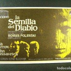 Folhetos de mão de filmes antigos de cinema: LA SEMILLA DEL DIABLO-ROMAN POLANSKI-MIA FARROW-JOHN CASSAVETES-SALA EDISON-FIGUERAS-1969. . Lote 173246654