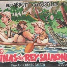Flyers Publicitaires de films Anciens: PROGRAMA DE CINE - LAS MINAS DEL REY SALMONETE- BUD ABBOTT, LOU COSTELLO - CINE CAPITOL Y JARDÍN 194. Lote 173268953