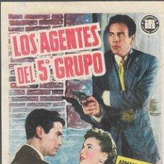 Folhetos de mão de filmes antigos de cinema: PROGRAMA DE CINE - LOS AGENTES DEL 5º GRUPO - ARMANDO MORENO - PALACIO ERISANA (LUCENA, CÓRDOBA). Lote 182465902