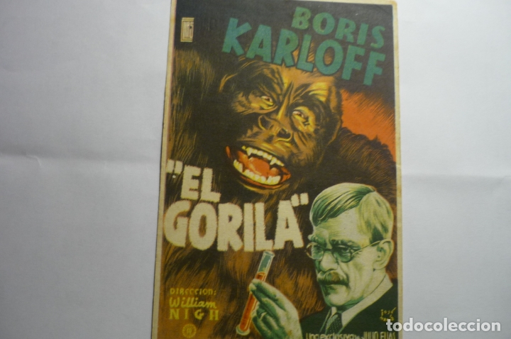 PROGRAMA EL GORILA .-BORIS KARLOFF PUBLICIDAD (Cine - Folletos de Mano - Terror)