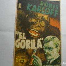 Cine: PROGRAMA EL GORILA .-BORIS KARLOFF PUBLICIDAD. Lote 173506264