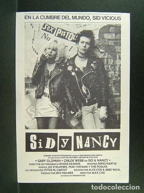 SID Y NANCY-ALEX COX-SID VICIOUS-SEX PISTOLS-GARY OLDMAN-CHLOE WEBB-THE POGUES-JOE STRUMMER-AÑOS 70. (Cine - Folletos de Mano - Musicales)