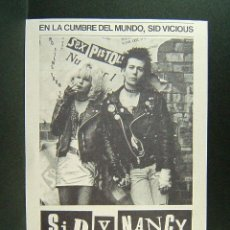 Flyers Publicitaires de films Anciens: SID Y NANCY-ALEX COX-SID VICIOUS-SEX PISTOLS-GARY OLDMAN-CHLOE WEBB-THE POGUES-JOE STRUMMER-AÑOS 70.. Lote 173560565