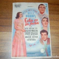 Cine: ESTA ES LA FECHA, IDEAL CINEMA 1946. Lote 173580793