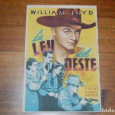 Folhetos de mão de filmes antigos de cinema: LA LEY DEL OESTE. IDEAL CINEMA (ELDA), AÑO 1951. Lote 173582737
